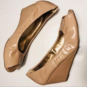 BCBG Patent Leather Tiamo Peep Toe wedge